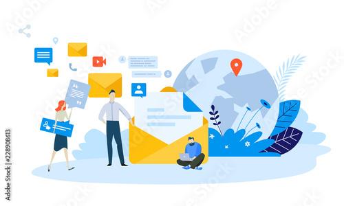 Obraz Vector illustration concept of email marketing. Creative flat design for web banner, marketing material, business presentation, online advertising. - fototapety do salonu