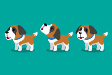 Set Of Vector Cartoon Character Cute Saint Bernard Dog Poses For Design.