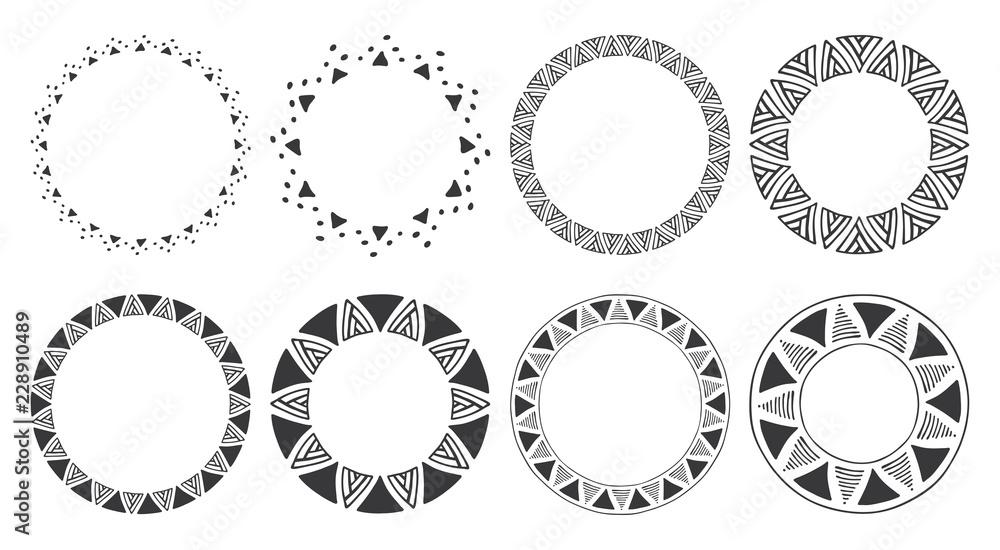 Fototapeta Set of hand drawn round frames. Tribal and geometric decorative design elements. Circle ornaments. Hand drawn clip art.