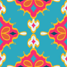 Seamless Vector Ikat Textured Teardrop Diamond Geometric Pattern In Hot Pink, Turquoise, Gold & Navy