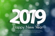 Happy New Year 2019 Greeting Card Concept With Paper Cuted White Numbers. Vector Illustration