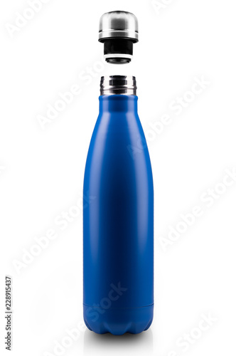 Fotografia, Obraz  Opened stainless thermo water bottle, close-up isolated on white background