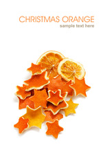 Dried Orange And Rind In The Shape Of Star Decorations For Christmas And The New Year