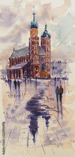 Fototapeta Old town, Kracow, Poland with Miariacki Church in background.Picture created with watercolors. obraz