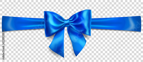 Fototapeta Beautiful blue bow with horizontal ribbon with shadow on transparent background