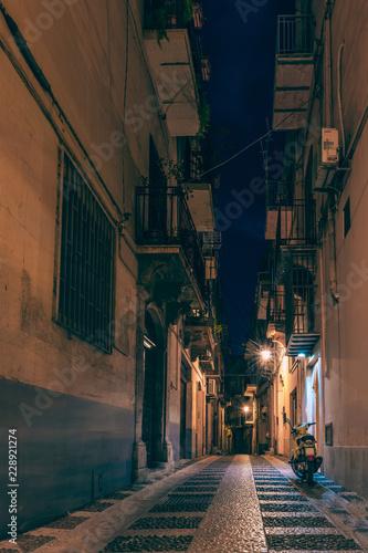 Night, ancient, historical city. Alcamo, Sicily, Italy Wallpaper Mural