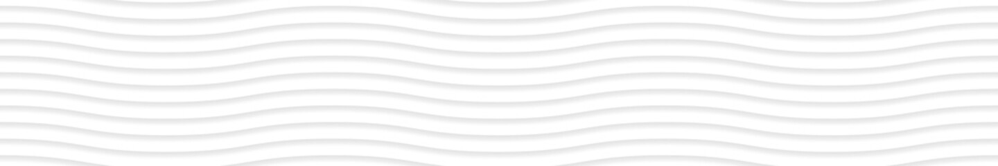 Abstract horizontal banner of wavy lines with shadows in white and gray colors