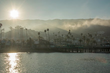 Sunset Over The Beach In Catalina Island California With Fog