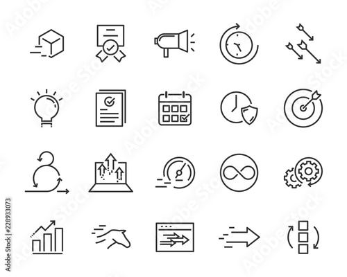 Photo simple set of vector line icons, contain such lcon as speed, agile, boost, proce