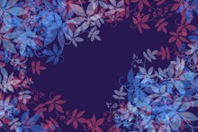 Dark Background Soft Overlay Leaf Edge, Textile Burnout Effect With Original Leaf Designs