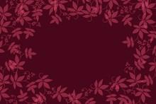 Dark Background Soft Overlay Leaf Edge, Textile Burnout Effect With Original Leaf Designs