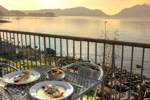 Foto auf Leinwand Grau Romantic dinner at Loch Linnhe, Kentallen, Scotland, UK