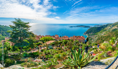 Платно Eze village at french Riviera coast, Cote d'Azur, France