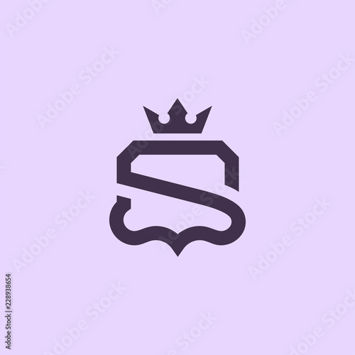 Photo  Luxury Simple S Initial Shield logo designs vector, Shield King logo template