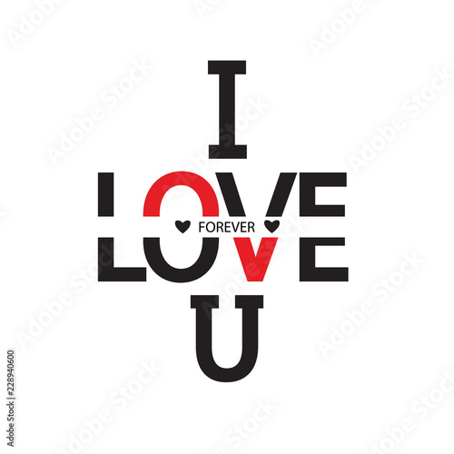 Fotografie, Obraz I love you forever word design vector illustration