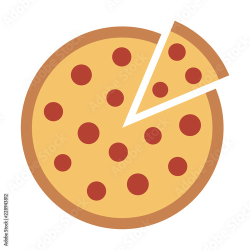 Fotografía Whole pepperoni pizza pie with loose slice flat vector color icon for food apps