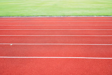 Running Track For Athletic Competition Texture. Race For Training Sport With Lane Background Copy Space, Nobody Runner Tracks Athietic Competition In Sunny Day.
