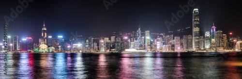 Fotografía Hong Kong skyline at night. Panorama