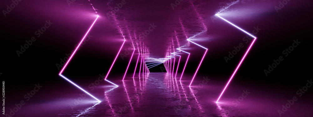 Fototapety, obrazy: 3D rendering Neon lights background. Bright neon lines background. Intelligence artificial. Abstract illustration. Architecture background