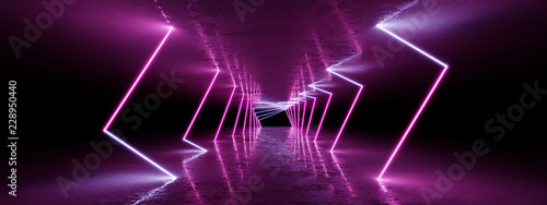 3D rendering Neon lights background. Bright neon lines background. Intelligence artificial. Abstract illustration. Architecture background - 228950440