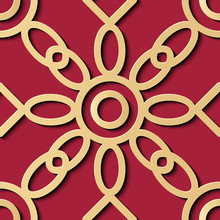 Seamless Relief Sculpture Decoration Retro Pattern Red Gold Round Curve Cross Frame Chain Flower Line