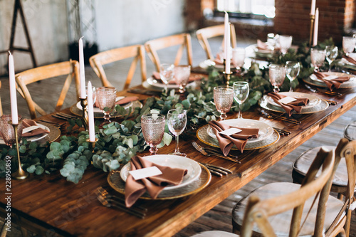 Wedding Table Decoration Rustic Style Buy This Stock Photo And