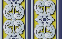 Seamless Relief Sculpture Decoration Retro Pattern Feather Spiral Curve Cross Leaf Flower Frame Line