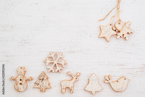 Rustic Christmas decorative, Xmas ornament on wood background. vintage style, top view.