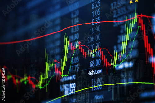 Double exposure of candle stick graph chart with indicator with stock market price screen and city background, stock exchange trading, investment and financial concept Wallpaper Mural