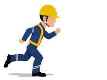 A Worker Is Running On Transparent Background