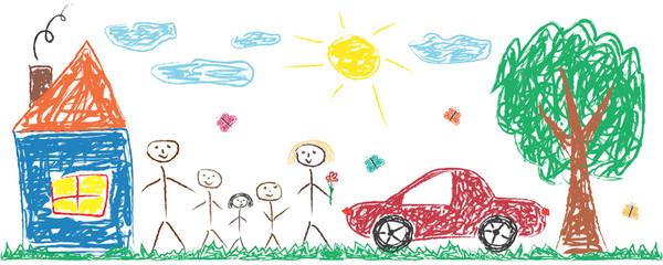 Djeca koja crtaju veselu obitelj, kuću, drvo, auto, sunce. Šarene izolirane vektorske ilustracije