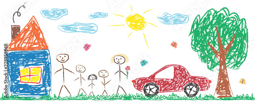 Fototapeta Children drawing cheerful family, house, tree, car, sun. Colorful isolated vector illustration obraz