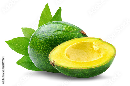 Green ripe avocado isolated on the white background