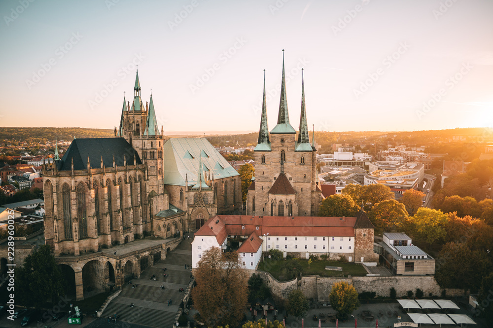 Fototapety, obrazy: Erfurter Dom aus der Luft
