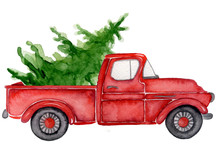 Red Christmas Truck With Pine ...