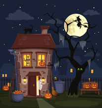 Halloween Night City Landscape...