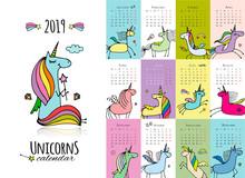 Cute Unicorns. Calendar 2019