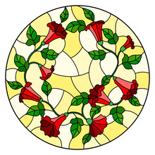 Illustration In Stained Glass Style Flowers Loach, Red Flowers And Leaves On Yellow Background,round Picture