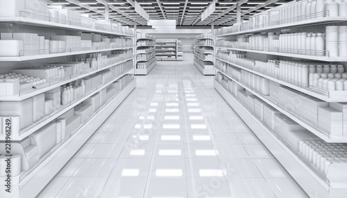 Fotografía  Interior of a supermarket with shelves with blank goods