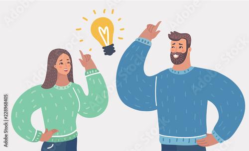 Obraz na płótnie Man and woman have a great idea.