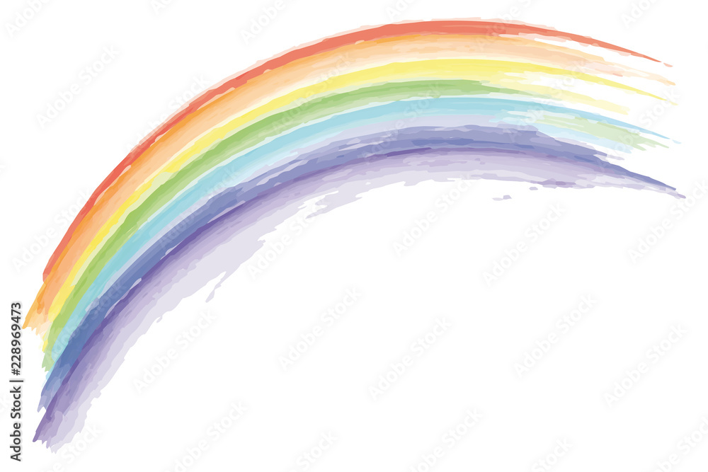 Fototapety, obrazy: watercolor rainbow isolated on white background
