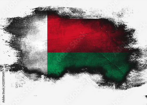 Foto op Canvas Luchtsport Madagascar flag painted with brush