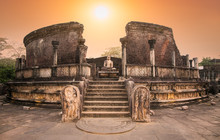 Polonnaruwa Vatadage In The Night Is Ancient Structure Dating Back To The Polonnaruwa , Sri Lanka.