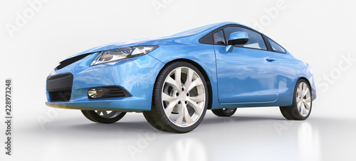 Foto op Canvas Cartoon cars Blue small sports car coupe. 3d rendering.