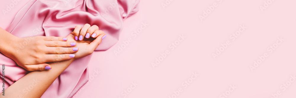 Fototapety, obrazy: Beautiful woman manicure on creative pink background with silk fabric. Minimalist trend.