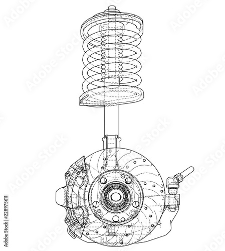 Photo Car suspension with shock absorber