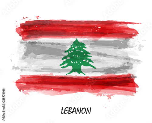 Photo Realistic watercolor painting flag of Lebanon . Vector