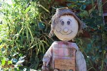 Scarecrow Sitting In The Autumn Garden