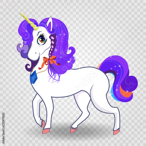Poster Pony magical unicorn with purple mane and rainbow eyes on transparent background.
