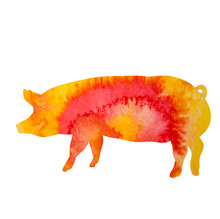 Silhouette Watercolor Pig